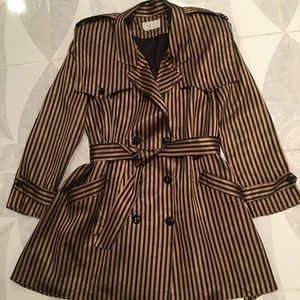Black & Gold Striped Trench Coat